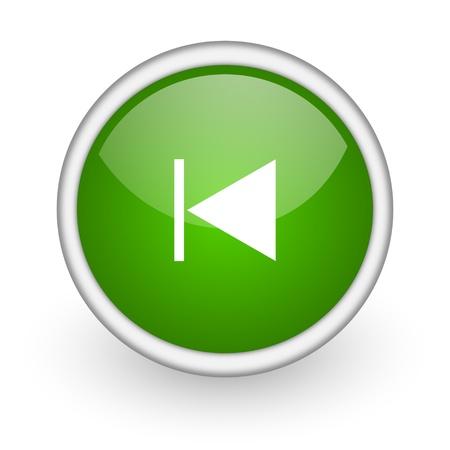 prev green circle glossy web icon on white background Stock Photo - 17647524