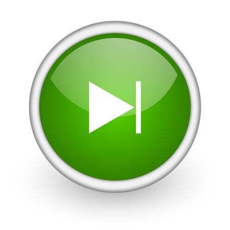 next green circle glossy web icon on white background Stock Photo - 17647517