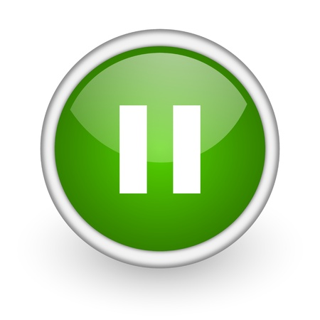 pause green circle glossy web icon on white background Stock Photo - 17647493