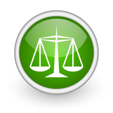 justice green circle glossy web icon on white background