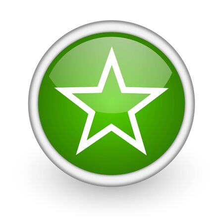star green circle glossy web icon on white background Stock Photo - 17647993