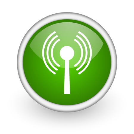 movable: wifi green circle glossy web icon on white background