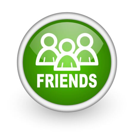 friends green circle glossy web icon on white background