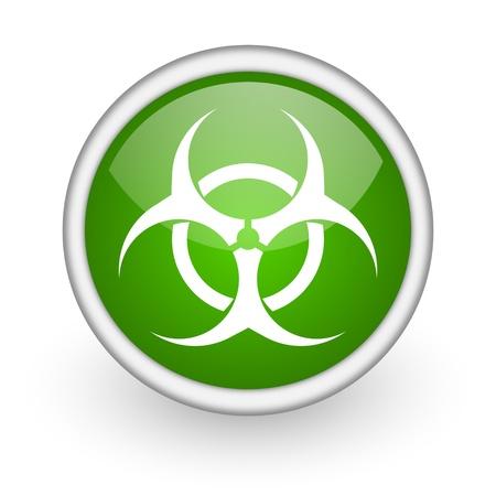 virus green circle glossy web icon on white background  photo