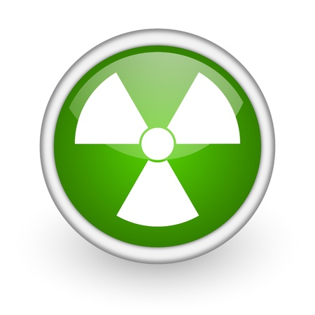 radiation green circle glossy web icon on white background Stock Photo - 17647535