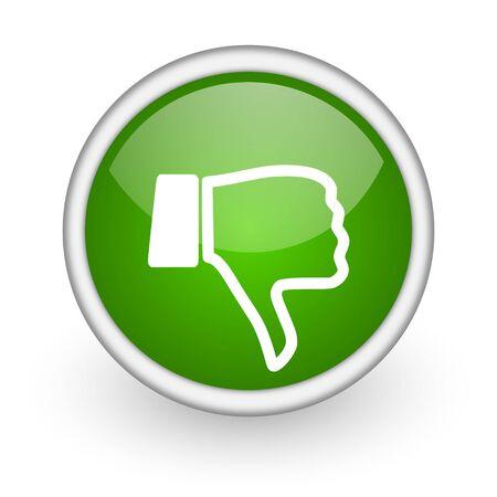 pollice in gi: pollice gi� cerchio verde icona web lucido su sfondo bianco Archivio Fotografico