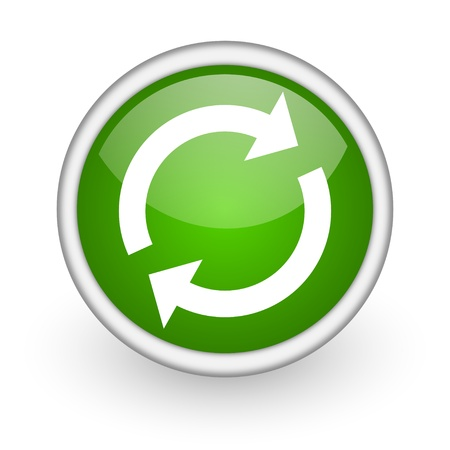 reload green circle glossy web icon on white background  photo
