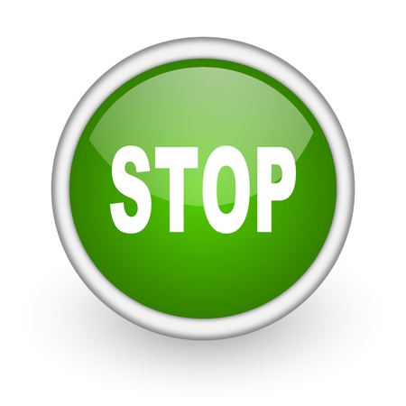 stop green circle glossy web icon on white background