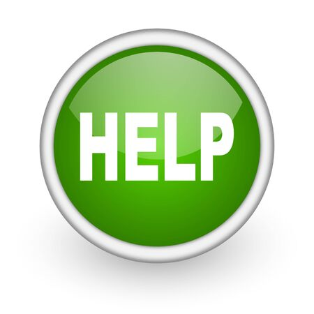 helps: help green circle glossy web icon on white background