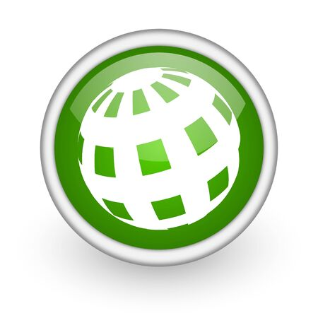 earth green circle glossy web icon on white background  photo