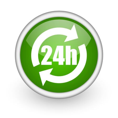 24h green circle glossy web icon on white background  photo
