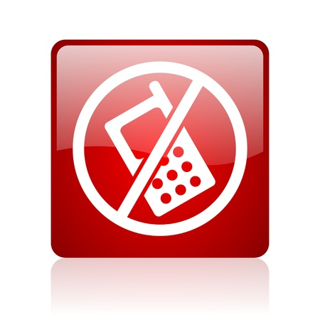 no phones red square glossy web icon on white background Stock Photo - 17671889