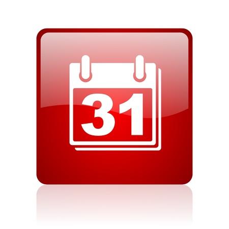 Kalender rotes Quadrat glossy Web-Symbol auf weißem Hintergrund