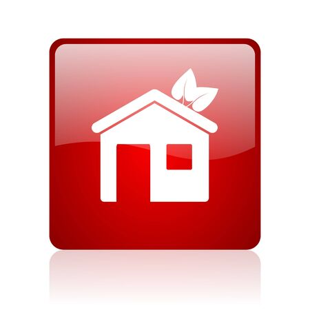 home red square glossy web icon on white background