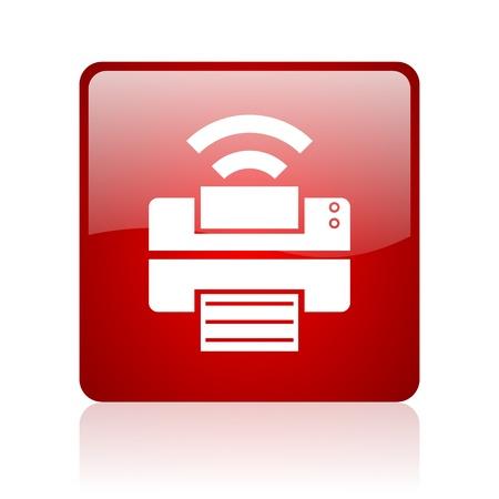 Drucken rotes Quadrat glossy Web-Symbol auf weißem Hintergrund