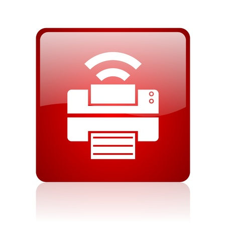 print red square glossy web icon on white background