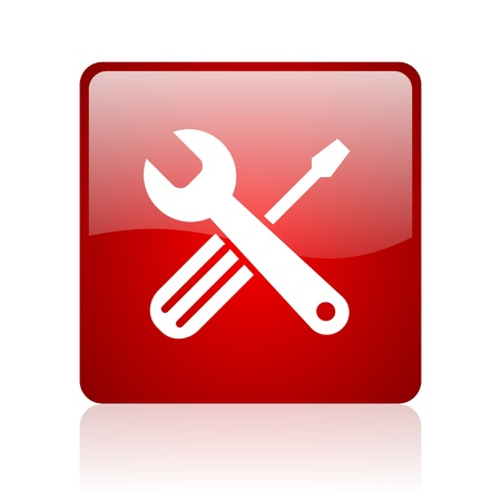 tools red square glossy web icon on white background