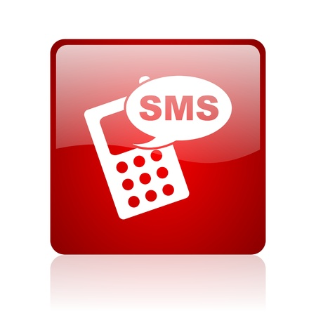 sms red square glossy web icon on white background  photo