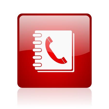 phonebook red square glossy web icon on white background  Zdjęcie Seryjne