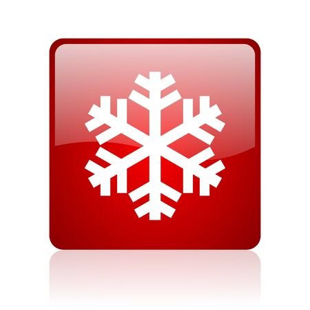 snowflake red square glossy web icon on white background