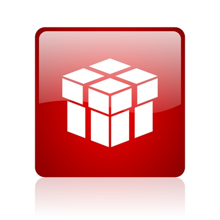 box red square glossy web icon on white background  photo