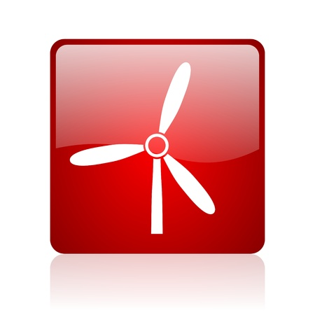 windmill red square glossy web icon on white background  photo