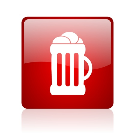 beer red square glossy web icon on white background  photo