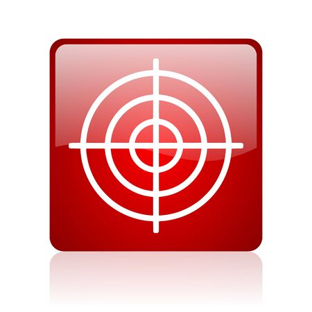 target red square glossy web icon on white background