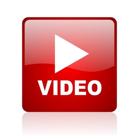 Video-rotes Quadrat glossy Web-Symbol auf weißem Hintergrund Standard-Bild