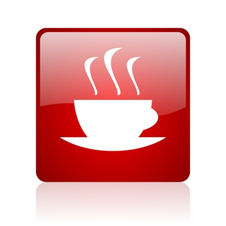 coffee red square glossy web icon on white background   photo