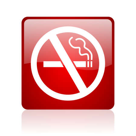no smoking red square glossy web icon on white background Stock Photo - 17671856