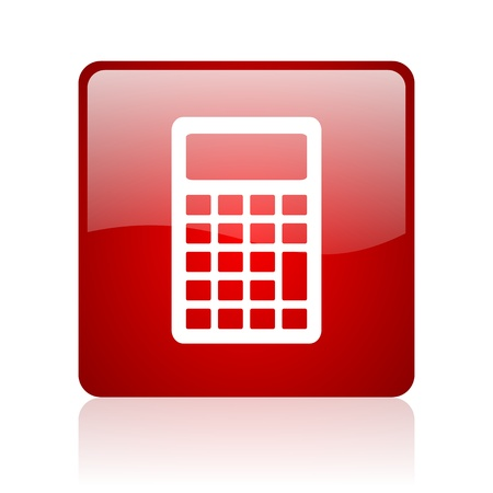 calculator red square glossy web icon on white background  photo