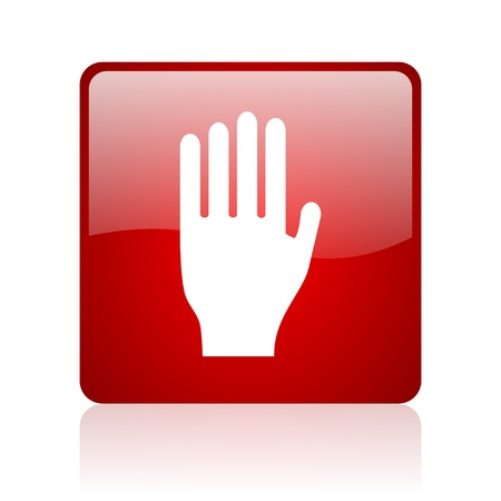 stop red square glossy web icon on white background