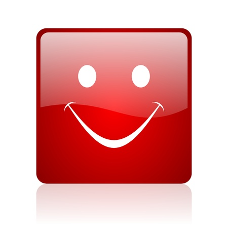 smile red square glossy web icon on white background