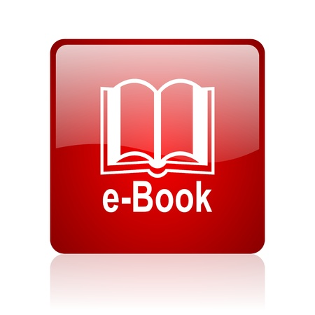 e-book red square glossy web icon on white background  photo