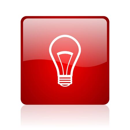 light bulb red square glossy web icon on white background  photo