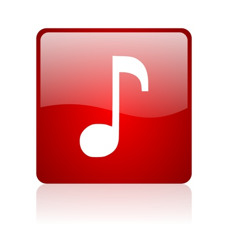 music red square glossy web icon on white background  photo