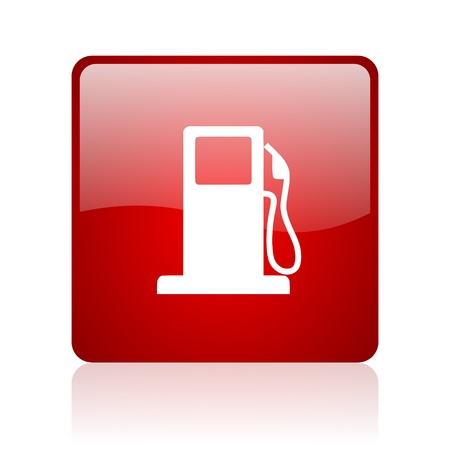 fuel red square glossy web icon on white background