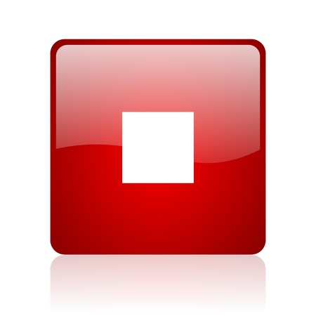 stop red square glossy web icon on white background Stock Photo - 17671162