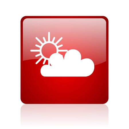 weather forecast red square glossy web icon on white background  photo