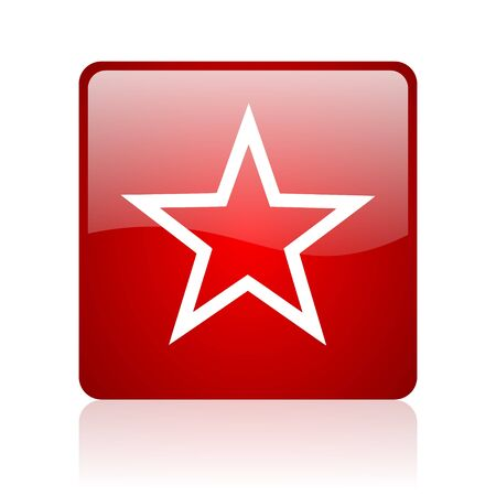 star red square glossy web icon on white background
