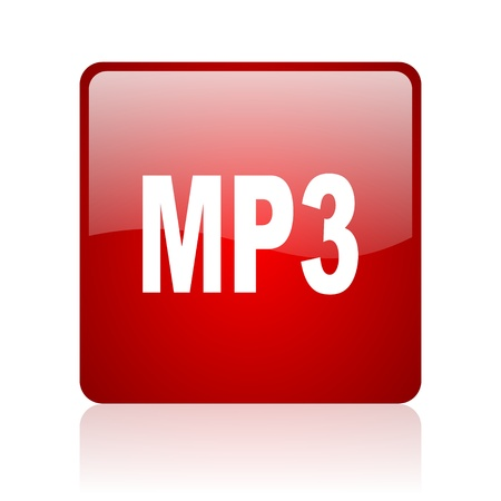 mp3 red square glossy web icon on white background  photo