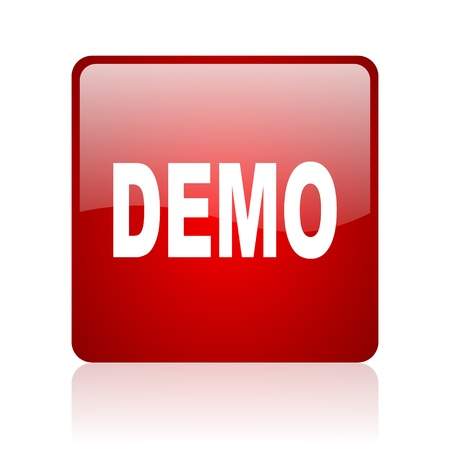 demo red square glossy web icon on white background  photo