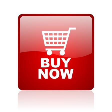 koop nu rood vierkant glanzende web pictogram op een witte achtergrond Stockfoto