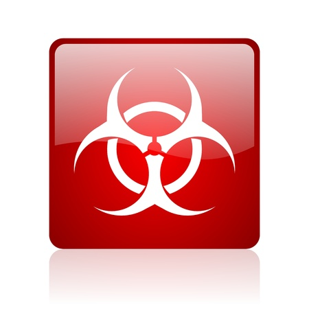 bacterioa: virus red square glossy web icon on white background