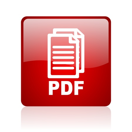 pdf: pdf red square glossy web icon on white background  Stock Photo