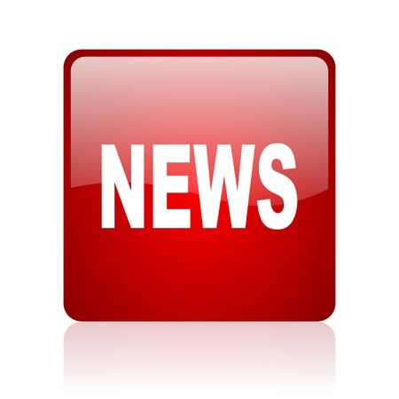 news red square glossy web icon on white background  photo