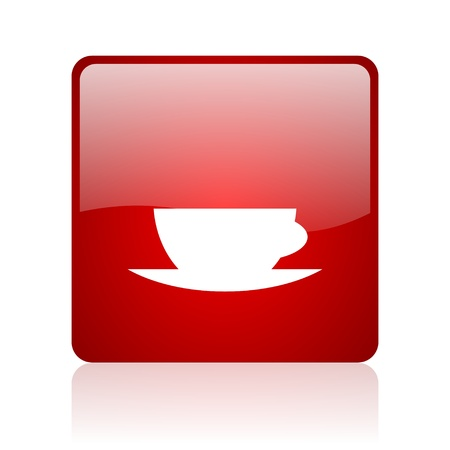 coffee cup red square glossy web icon on white background  photo