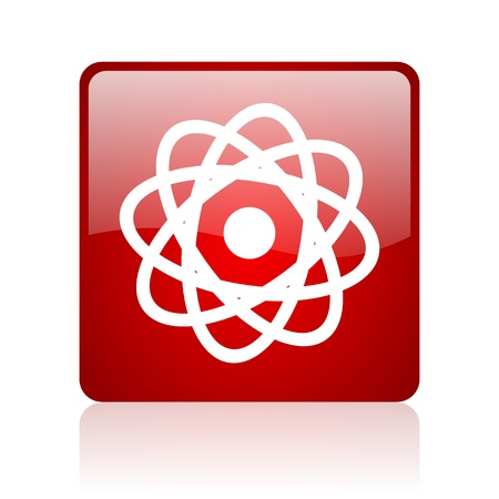 atom red square glossy web icon on white background  photo