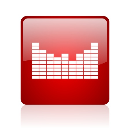 sound red square glossy web icon on white background  photo